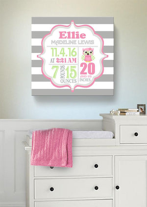 Owl Nursery Baby Birth Stats Girl Nursery Wall Art - New Baby Birth Announcement GiftsBaby ProductMuralMax Interiors