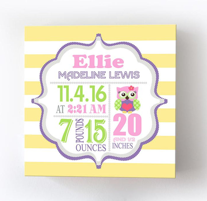 Owl Nursery Baby Birth Stats Girl Nursery Wall Art - New Baby Birth Announcement Gifts
