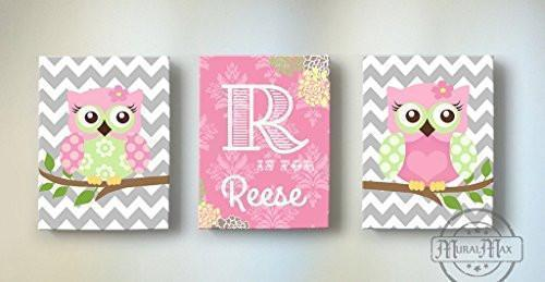 Owl Nursery Decor - Personalized Owl Family On A Branch - Pink Green Canvas Decor - Set of 3-MuralMax Interiors