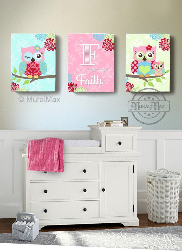 Owl Wall Art - Personalized Floral Owl Canvas Art Decor - Set of 3-Pink Green Baby Nursery