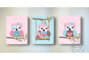 Owls Canvas Decor - Pink & Blue Girl Nursery Art - Owl Collection-MuralMax Interiors