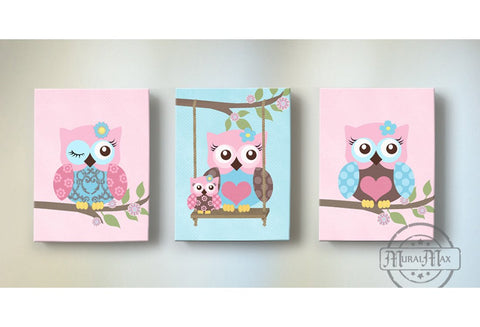 Owls Canvas Decor - Pink & Blue Girl Nursery Art - Owl Collection