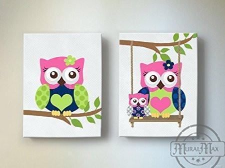 Owls Girl Room Decor - Hot Pink Navy Canvas Art -The Owl Collection - Set of 2