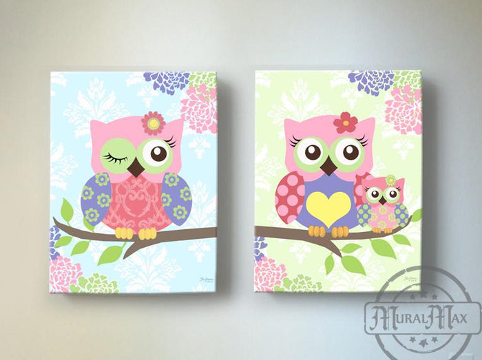 Owls Nursery - Owl Girl Room Canvas Decor - Woodland Owl Decor - Set of 2