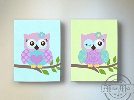 Owls On Swing Canvas Nursery Decor - Purple Owl Baby Girl Nursery Art - Set of 2-MuralMax Interiors