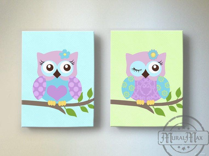 Owls On Swing Canvas Nursery Decor - Purple Owl Baby Girl Nursery Art - Set of 2