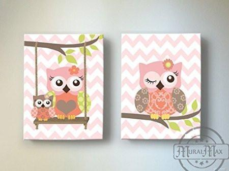 Owls Swinging From A Branch - Chevron Canvas Decor - The Owl Collection - Set of 2-B018GT952A