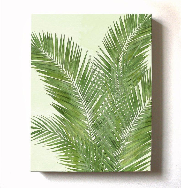 Palm Tree Tropical Canvas Art - Botanical Wall Decor - Watercolor Painting Green Botanical Living Room Bedroom Wall Decoration