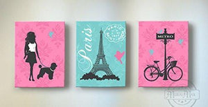 Paris - Eiffel Tower - Walk My Dog Theme - The Canvas Paris Collection - Set of 3-B019015PO0-MuralMax Interiors