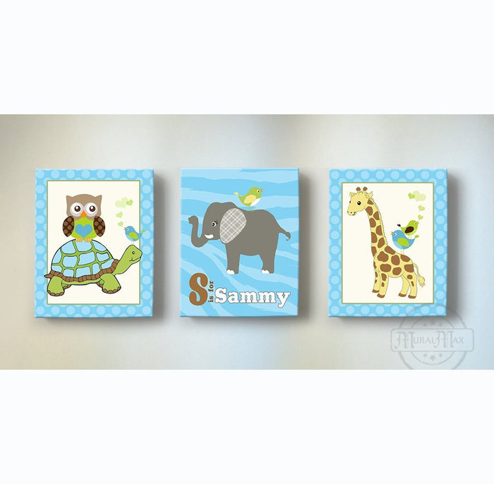 Personalized Baby Animal Nursery Decor - Zebra Striped & Polka Dots Whimsical Safari Animal Canvas Art - Set of 3