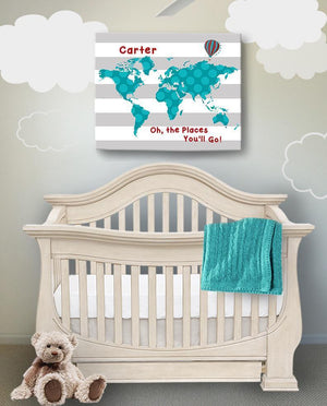 Personalized Baby Boy Nursery Art- Dr Seuss Nursery Decor - Striped Canvas World Map - Oh The Places You'll Go-B018ISFVF4Baby ProductMuralMax Interiors