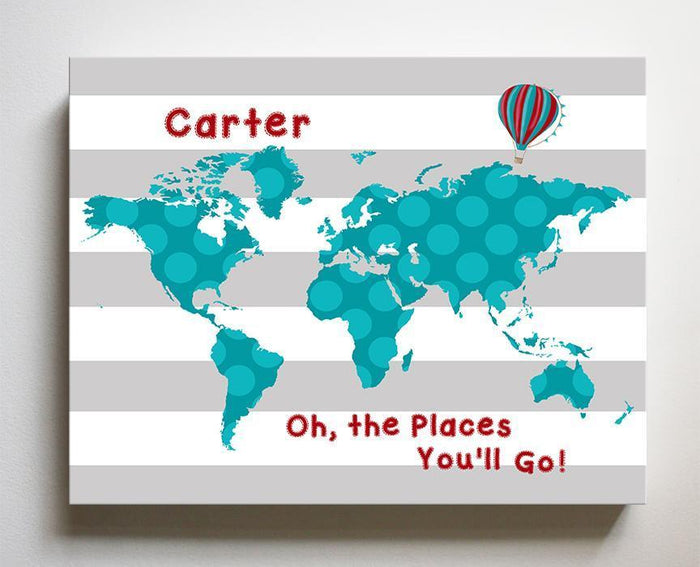 Personalized Baby Boy Nursery Art- Dr Seuss Nursery Decor - Striped Canvas World Map - Oh The Places You'll Go-B018ISFVF4