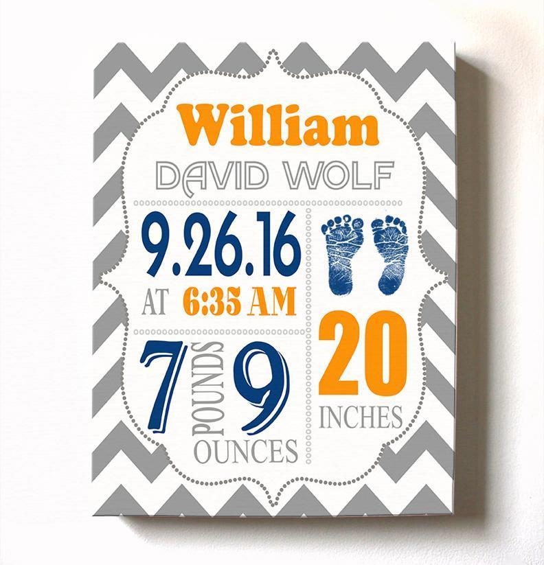 Personalized Baby Boy Room Decor - Birth Announcement Canvas Wall Art - Personalized Baby Gift- Baby KepsakeBaby ProductMuralMax Interiors