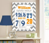 Personalized Baby Boy Room Decor - Birth Announcement Canvas Wall Art - Personalized Baby Gift- Baby Kepsake - B0723D4NWX-MuralMax Interiors