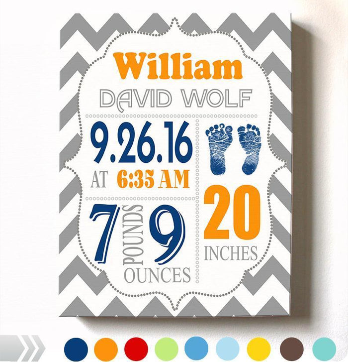 Personalized Baby Boy Room Decor - Birth Announcement Canvas Wall Art - Personalized Baby Gift- Baby Kepsake