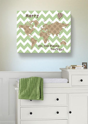 Personalized Baby Boy Room Decor - Dr Seuss Nursery Decor - Chevron Canvas World Map Collection - Oh The Places You'll Go-B018ISOSSK-MuralMax Interiors