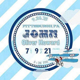 Personalized Baby Gift Birth Announcements For Boy Nursery - Modern Stripes Airplane Nursery Decor - (Blue) - Stretched Canvas - B019017DCW-MuralMax Interiors