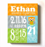 Personalized Baby Gift Birth Announcements For Boy - Owl Nursery Decor Nursery Wall ArtBaby ProductMuralMax Interiors