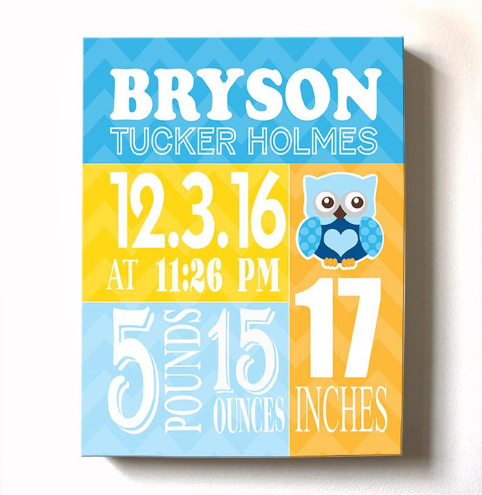Personalized Baby Gift Birth Announcements For Boy - Owl Nursery Decor Nursery Wall Art