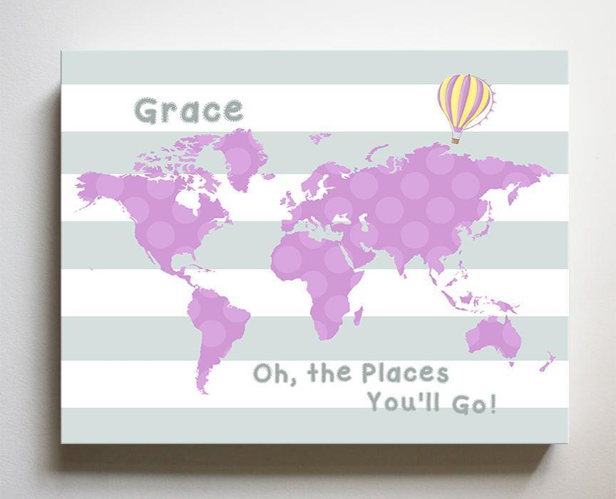 Personalized Baby Girl Dr Seuss Nursery Decor - Striped Canvas World Map Collection - Oh The Places You'll Go-B018ISNPYS-MuralMax Interiors