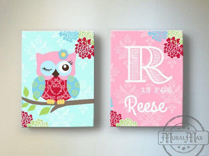 Personalized Baby Girl Nursery Art - Floral Owl Canvas Art Decor - Set of 2-MuralMax Interiors
