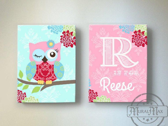 Personalized Baby Girl Nursery Art - Floral Owl Canvas Art Decor - Set of 2
