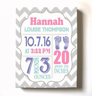 Personalized Baby Girl Room Decor - Birth Announcement Canvas Wall Art - Personalized Baby Gift- Baby Kepsake - B0723D4NWX-MuralMax Interiors