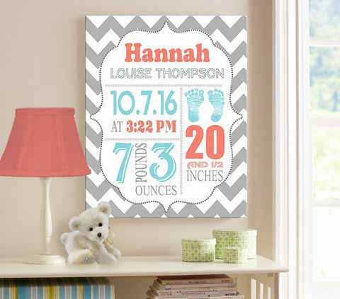 Personalized Baby Girl Room Decor Birth Announcement Canvas Wall
