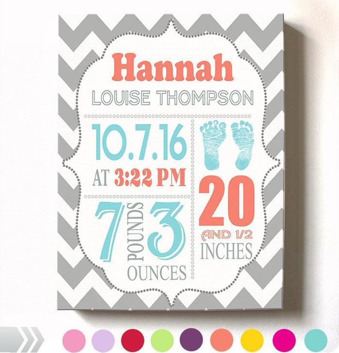 Personalized Baby Girl Room Decor - Birth Announcement Canvas Wall Art - Personalized Baby Gift- Baby Kepsake - B0723D4NWX