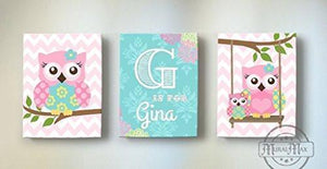 Personalized Baby Girl Room Decor - Chevron Owl Family Canvas Wall Art - Set of 3-Pink aqua Decor-MuralMax Interiors