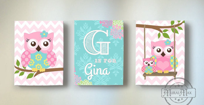 Personalized Baby Girl Room Decor - Chevron Owl Family Canvas Wall Art - Set of 3-Pink aqua Decor