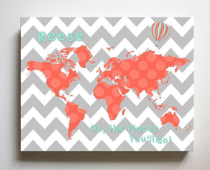 Personalized Baby Girl Wall Decor - Dr Seuss Nursery Decor - Chevron Canvas World Map Collection - Oh The Places You'll Go-B071W2RK6Y-MuralMax Interiors