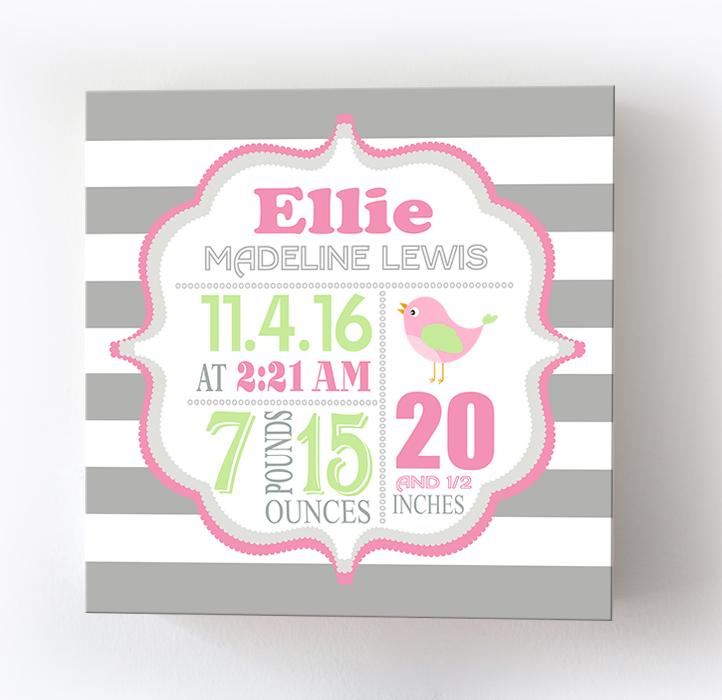 Personalized Baby Wall Art Birth Information For Girls - Canvas Nursery DecorBaby ProductMuralMax Interiors