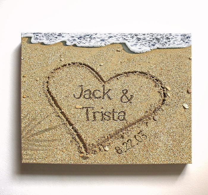 Personalized Beach Canvas Wall Art - Names Written in Sand - Unique Wall Decor