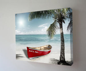 Personalized Beach House Decor - Nautical Boat Wall Art for Couples - Customized with Names-MuralMax Interiors