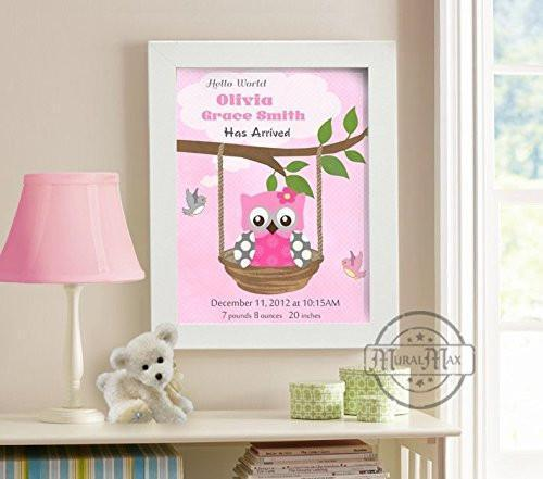 Personalized Birth Announcement Theme - Custom Nursery Owl & Swing Collection - Unframed Print-B018GT08ZI-MuralMax Interiors