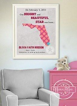 Personalized Birth Announcement Theme - Map & Rhymes Nursery Decor Collection - Unframed Print-B018GSV3C6-MuralMax Interiors