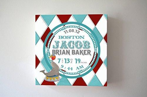 Personalized Birth Announcements For Boy - Circus Seal Nursery Art Baby Boy - Make Your New Baby Gifts Memorable - Color: Teal - Canvas Art - B018GSV8RQ-MuralMax Interiors