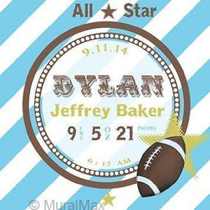 Personalized Birth Announcements For Boy - Football Nursery Art Baby Boy - Make Your New Baby Gifts Memorable - Color: Blue - Stretched Canvas-MuralMax Interiors