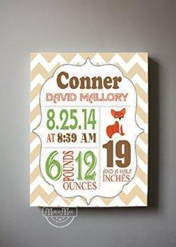 Personalized Birth Announcements For Boy - Fox Nursery Art Baby Boy - Make Your New Baby Gifts Memorable - Color: Tan - Stretched Canvas Art - B018GT5RJA