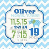 Personalized Birth Announcements For Boy - Modern Chevron Elephant Nursery Decor - Make Your New Baby Gifts Memorable - (Blue & Green) - Stretched Canvas - B018GTD7AQ-MuralMax Interiors