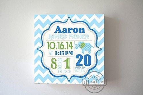 Personalized Birth Announcements For Boy - Modern Chevron Elephant Nursery Decor - Make Your New Baby Gifts Memorable - (Blue & Green) - Stretched Canvas - B018GTD7AQ