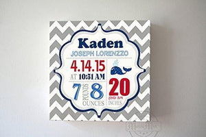 Personalized Birth Announcements For Boy - Modern Chevron Whales Nursery Decor - Make Your New Baby Gifts Memorable - (Gray & Red) - Stretched Canvas Art - B019016TDG-MuralMax Interiors