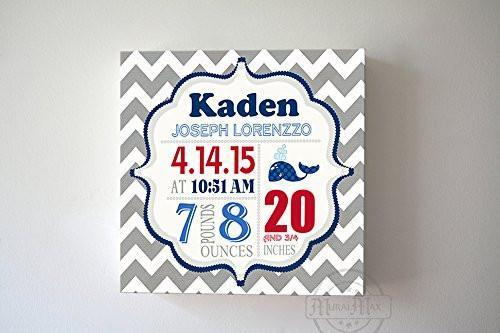 Personalized Birth Announcements For Boy - Modern Chevron Whales Nursery Decor - Make Your New Baby Gifts Memorable - (Gray & Red) - Stretched Canvas Art - B019016TDG