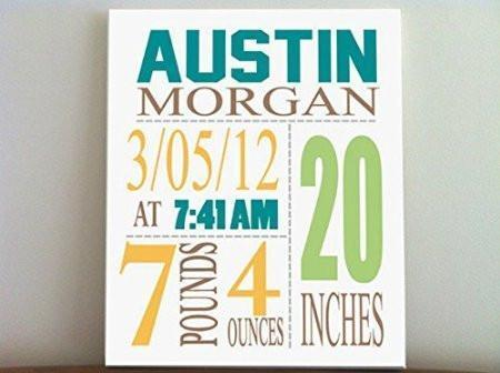Personalized Birth Announcements For Boy - Modern Nursery Art Baby Boy - Make Your New Baby Gifts Memorable - Color: Apricot - Stretched Canvas - B018GSZD1I-MuralMax Interiors