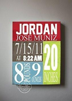 Personalized Birth Announcements For Boy - Modern Nursery Art Baby Boy - Make Your New Baby Gifts Memorable - Color: Red - Stretched Canvas - B018GT1DXY