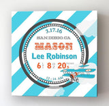 Personalized Birth Announcements For Boy - Modern Stripes Airplane Nursery Decor - Make Your New Baby Gifts Memorable - Stretched Canvas -B0723D5TSR-MuralMax Interiors