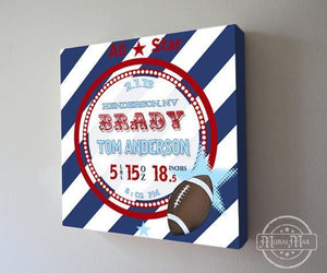 Personalized Birth Announcements For Boy - Modern Stripes & Football Nursery Decor - Make Your New Baby Gifts Memorable - (Navy) - Stretched Canvas-MuralMax Interiors