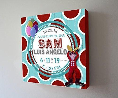 Personalized Birth Announcements For Boy - Monkey Nursery Art Baby Boy - Make Your New Baby Gifts Memorable - Color: Aqua - Stretched Canvas - B018GSV7HC-MuralMax Interiors