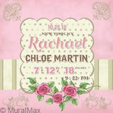 Personalized Birth Announcements For Girl - Flower Nursery Art Baby Girl - Make Your New Baby Gifts Memorable - Color: Pink - Canvas Art - B018GSWLFO-MuralMax Interiors